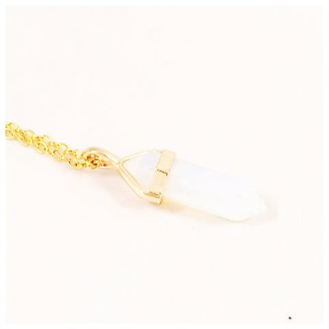 Opalite Quartz Crystal Point | Gold Necklace