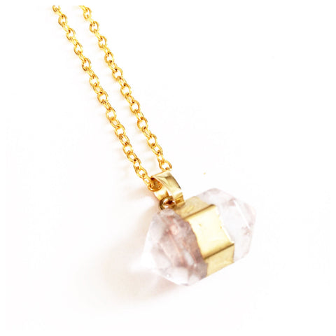 Clear Quartz Double Crystal Point | Gold Necklace