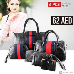 6 pcs Handbags ACE-08 - Pink and Black Color