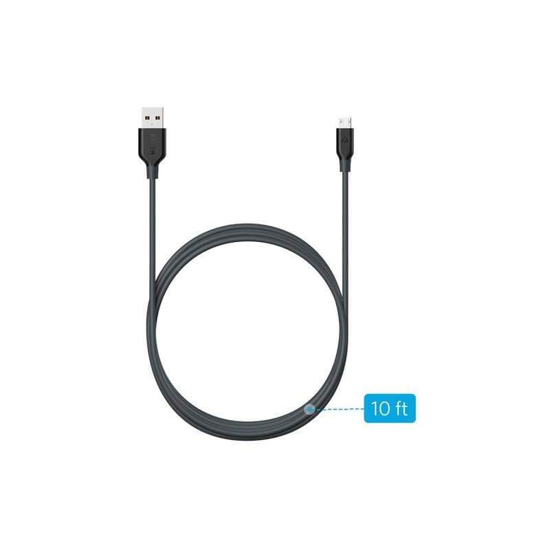 Anker PowerLine Micro USB 10ft Black - A8134H12