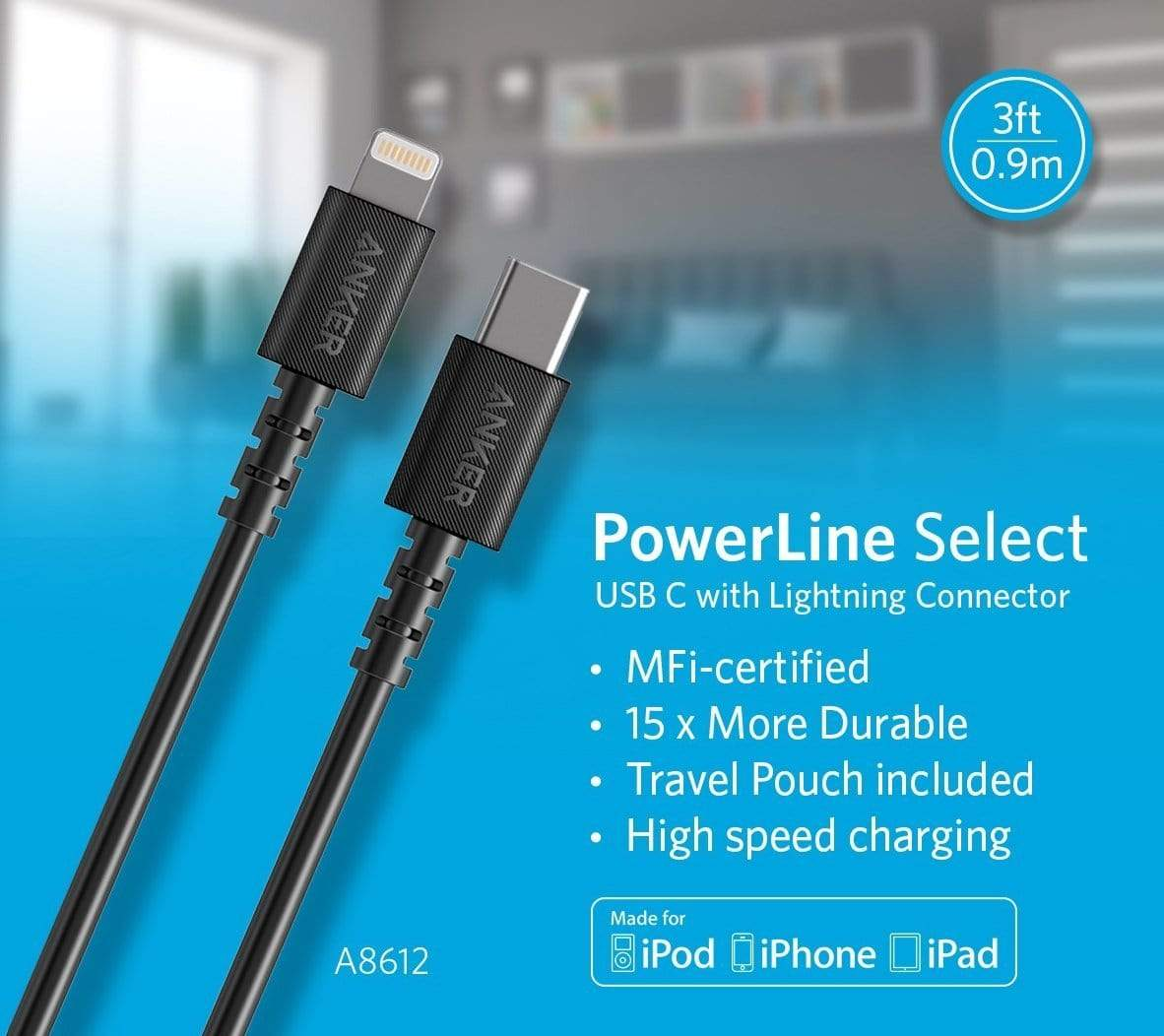 ANKER POWERLINE SELECT USB-C CABLE WITH LIGHTNING CONNECTOR