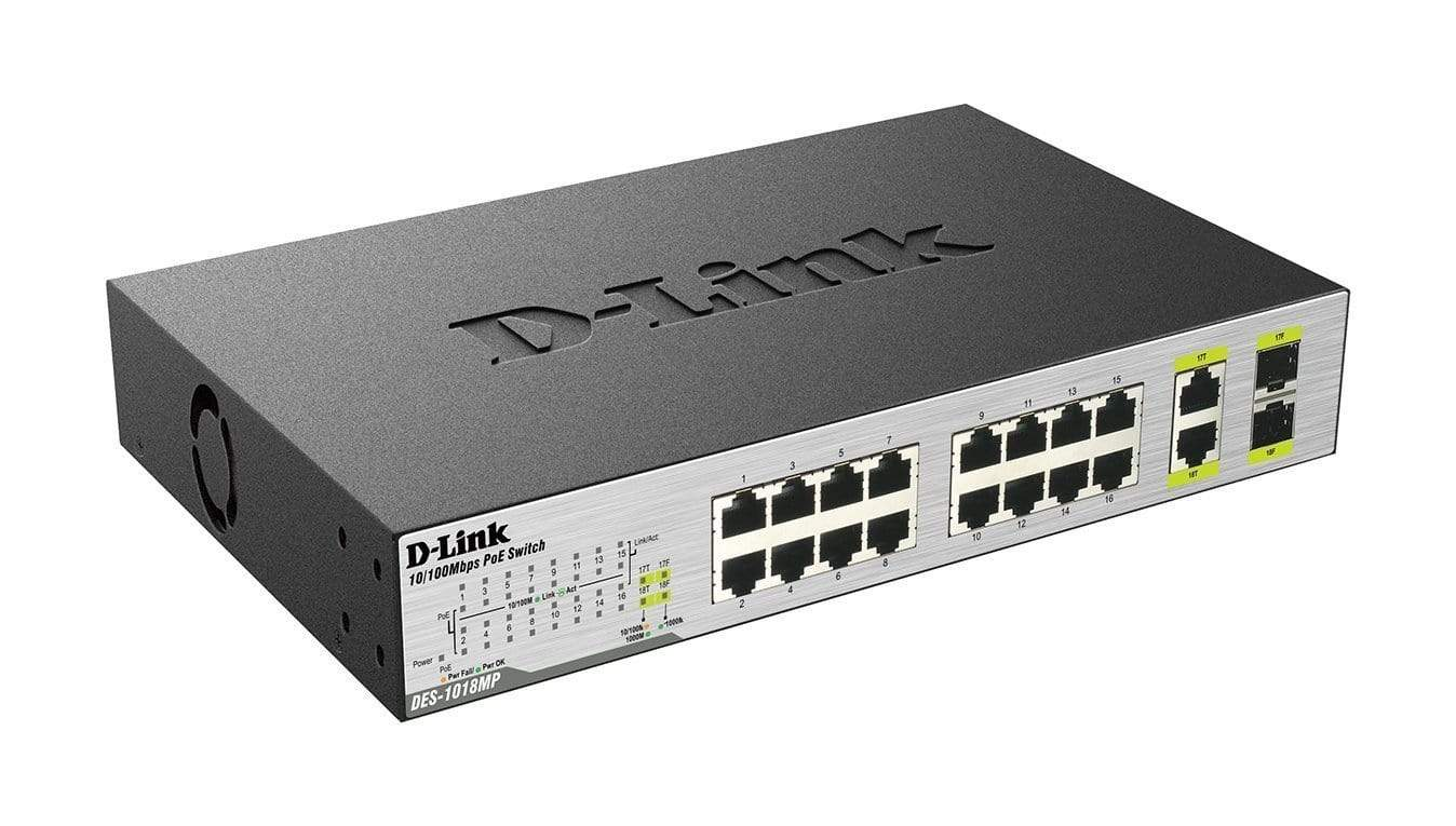 D-Link DES‑1018MP 18‑Port Fast Ethernet PoE Switch