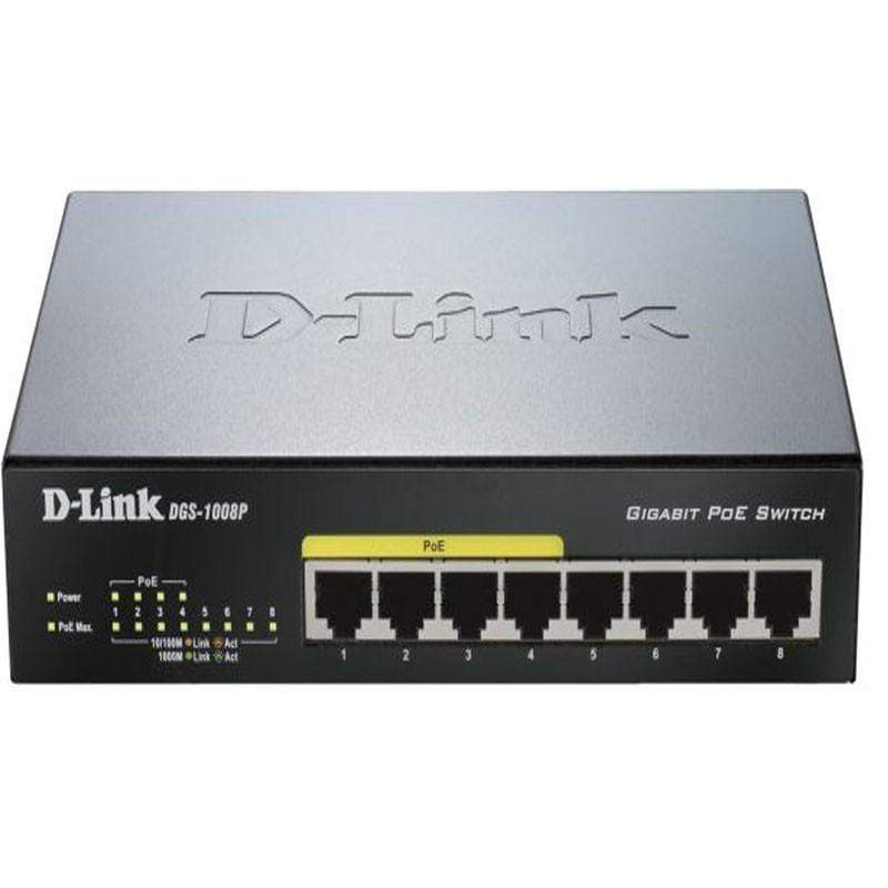 D-Link DGS-1008P 8 Port PoE Smart Switch - Black