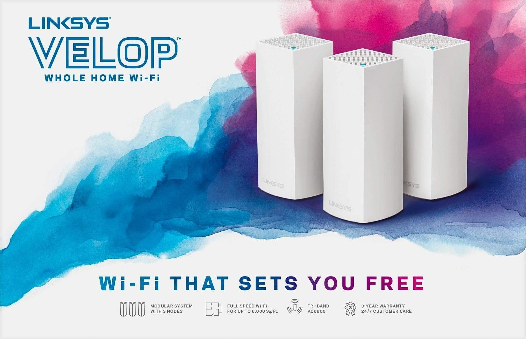 Linksys WHW0303 Velop Whole Home WiFi Mesh System Tri-band AC6600
