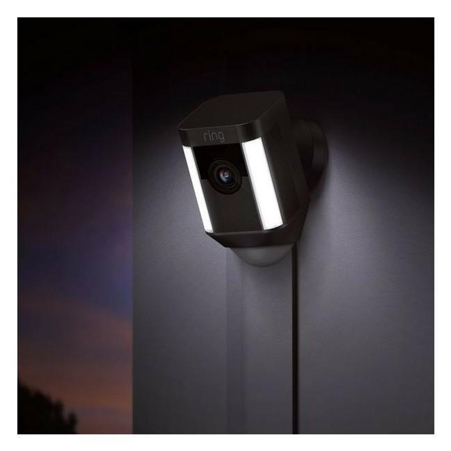 Ring Spotlight Wired HD Security Camera with built-in spotlights - Black