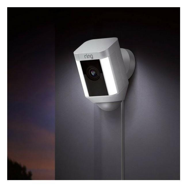 Ring Spotlight Wired HD Security Camera with built-in spotlights - White