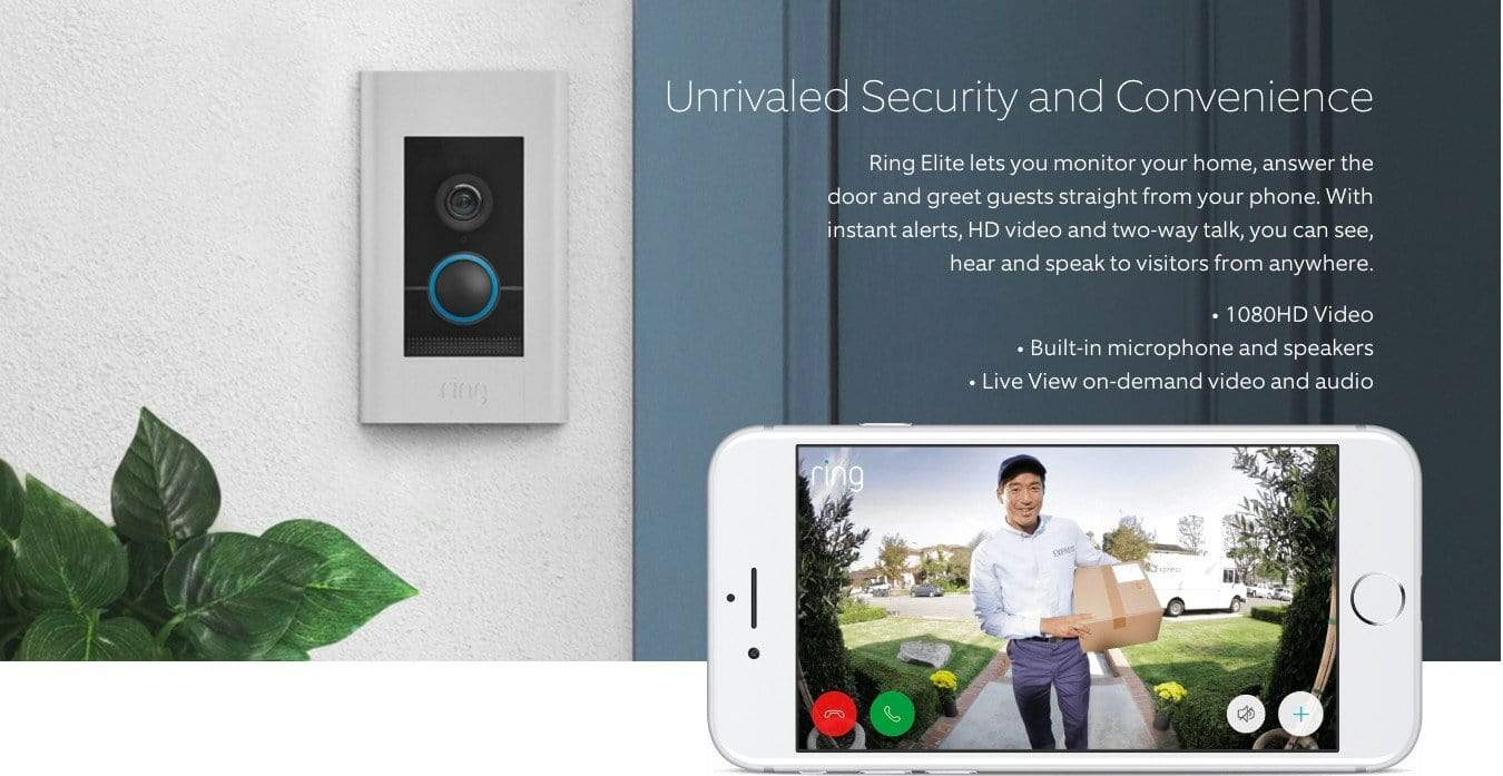 Ring Video Doorbell Elite Hardwired with power over ethernet