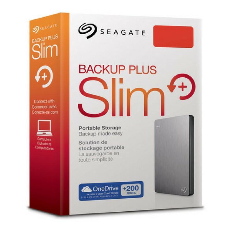Seagate 1 TB Backup Plus USB 3.0 Slim Portable Hard Drive - Silver