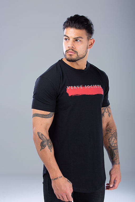 Paint Stroke T-Shirt Black / Red