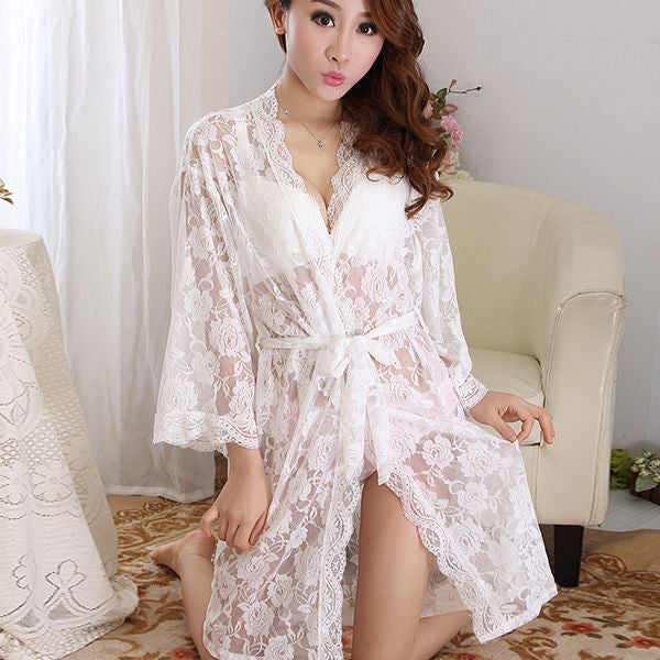 d551f3480 Womens Sexy See Through Lace Sleepwear Robes Lingerie Pajamas Nightgown  Bathrobe. Loading zoom