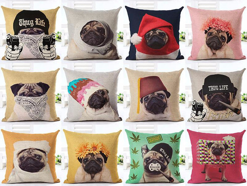 """All About Pugs"" Pillow Covers"