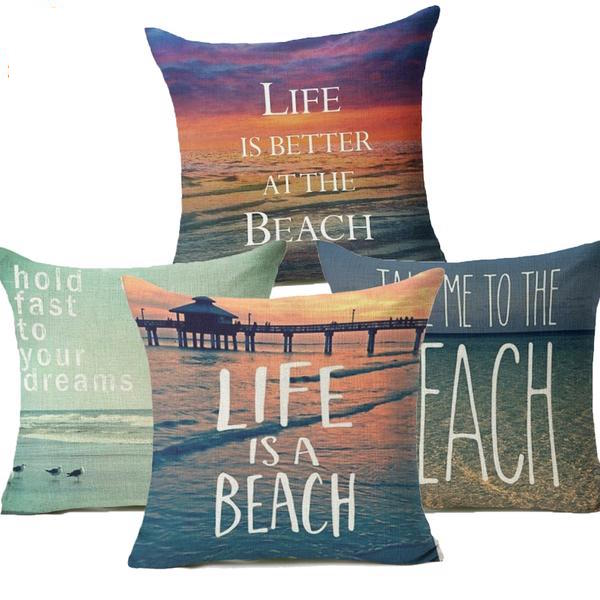 """Life is a Beach"" Pillow Covers"