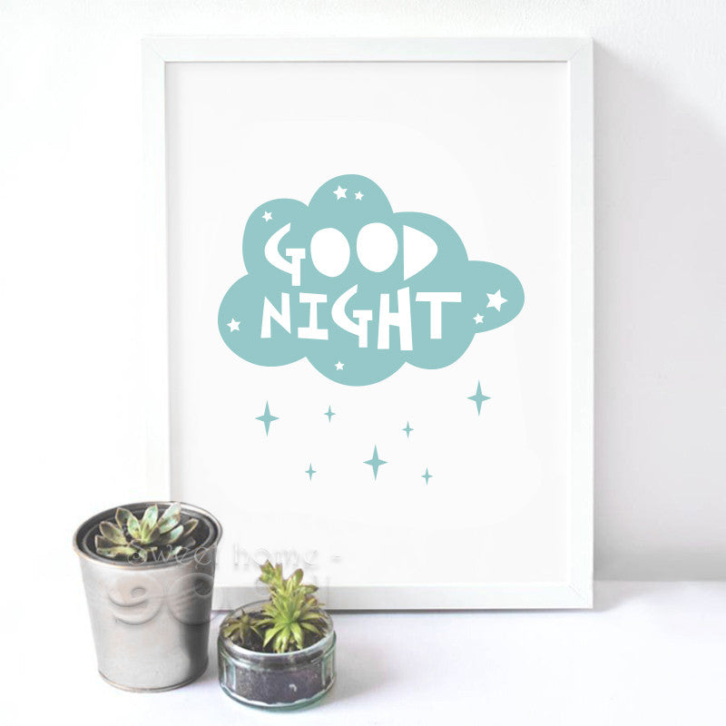 """Cartoon Cloud Good Night"" Canvas Art"