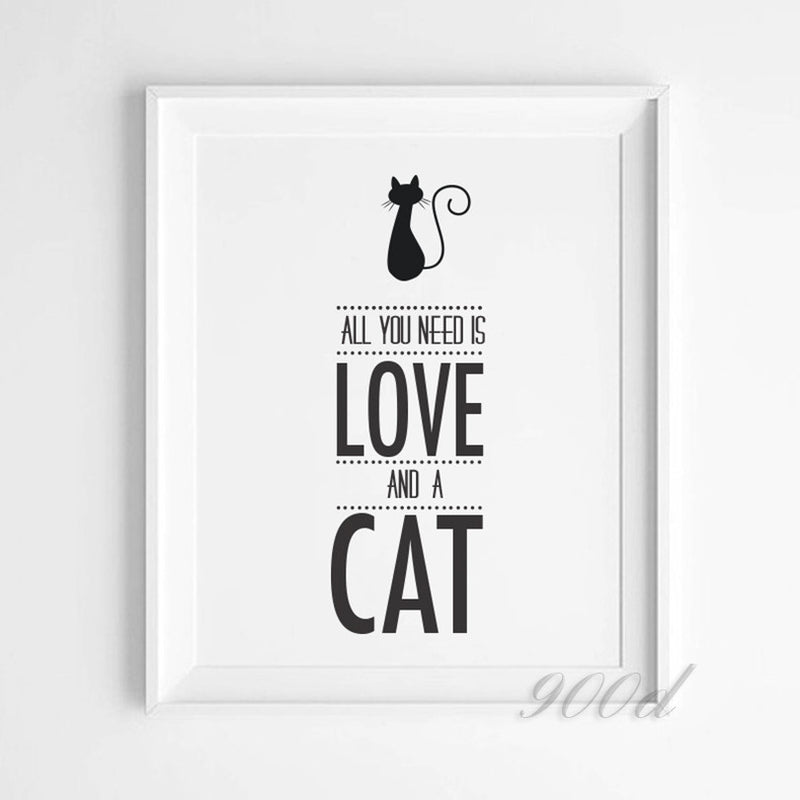 """All You Need Is Love And A Cat"" Canvas Art"
