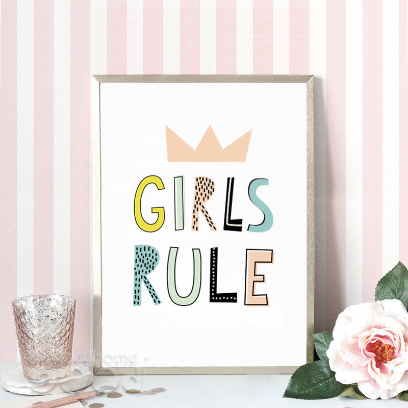 """Cartoon Girls Rule"" Canvas Art"