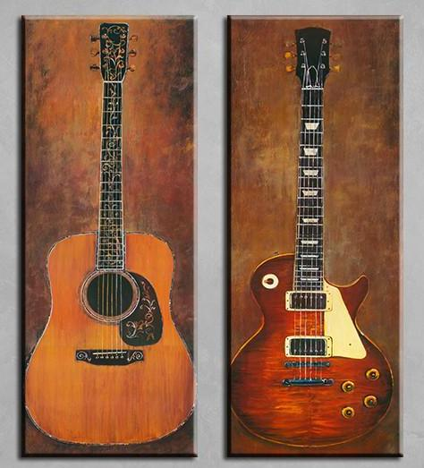"""Acoustic & Electric Guitars"" Canvas Art 2-piece"