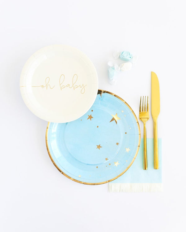 Baby Blue Star Small Paper Plates