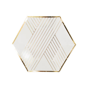 White Striped Small Dessert Paper Plates