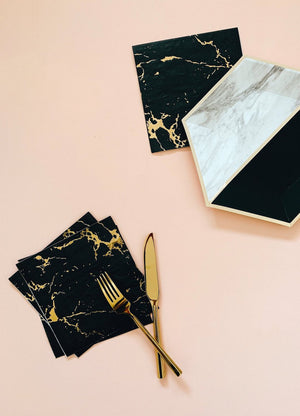 Black Marble Cocktail Paper Napkins