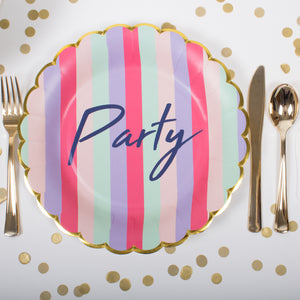 Party Striped Paper Plates
