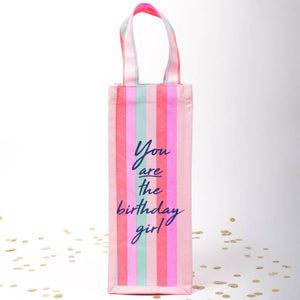 Birthday Girl Canvas Wine Bag
