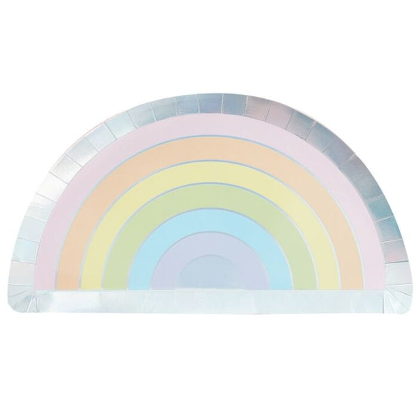 Iridescent Foiled Pastel Rainbow Paper Plates
