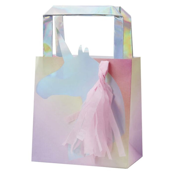 Iridescent Foiled Unicorn Paper Party Bag With Tassels