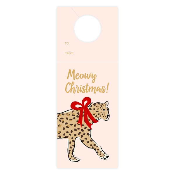 Meowy Christmas Leopard Wine Tag