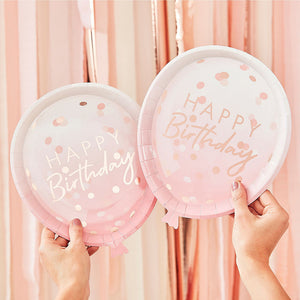 Pink Ombre and Rose Gold Shaped Happy Birthday Plates