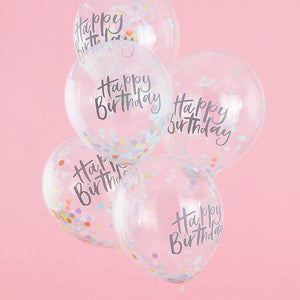 Pastel Confetti Filled Happy Birthday Balloons