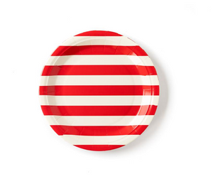 Red and White Stripe Large Plates