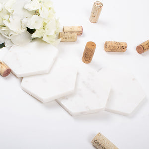 White Marble Hexagon Coaster Set