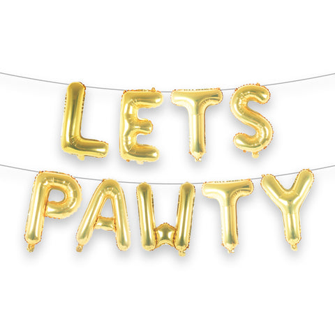 "LETS PAWTY 16"" Letter Balloon Banner Kit"