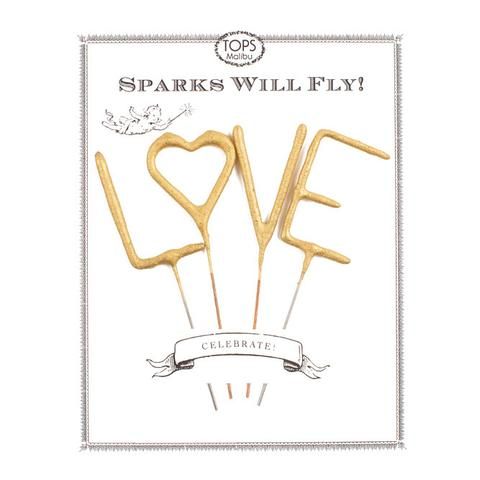 Small Golden Sparkler Wands - LOVE