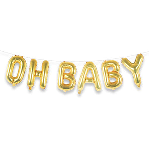 "OH BABY 16"" Gold Foil Letter Balloon Banner Kit"