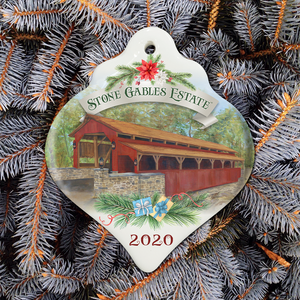 NEW!  2020 Porcelain Christmas Ornament - 1844 Herr's Mill Covered Bridge