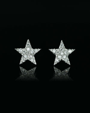 White Gold Star Post Earrings