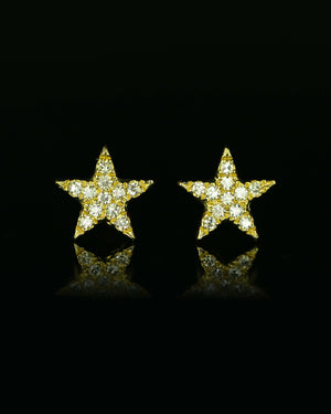 Yellow Gold Star Post Earrings