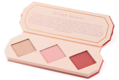 A cheek palette with 2 soft-focus blushes and 1 luminous highlighter against a white background