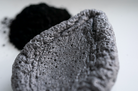 Close up of dry bamboo charcoal sponge