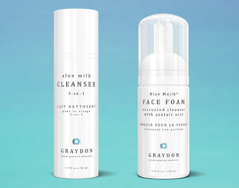 Aloe Milk Cleanser and Face Foam on a gradient background