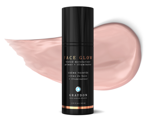 Face Glow bottle with product smear behind