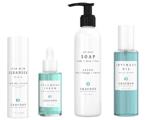 A selection of four Graydon Skincare products that contain essential oils against a white background