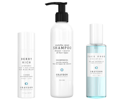 A selection of three Graydon Skincare products containing plant extracts