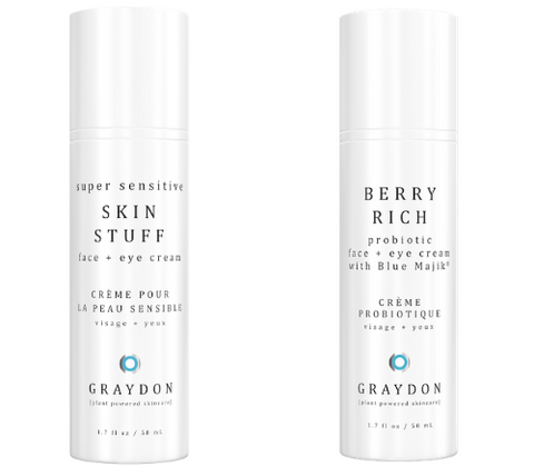 A ceramide moisturizing face cream next to a probiotic face cream in white packaging against a white background