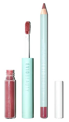 A lip combo with a creamy, long-wearing lipliner to line or fill the lips and a hydrating, non-sticky lip gloss in a neutral mauve shade against a white background.