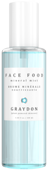 A bottle of aquamarine-coloured vegan hydrating face mist against a white background