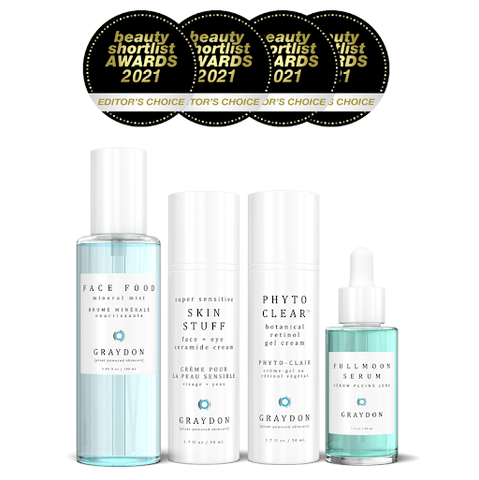 A natural toner, two facial moisturizers and a serum with four Beauty Shortlist award stamps above them