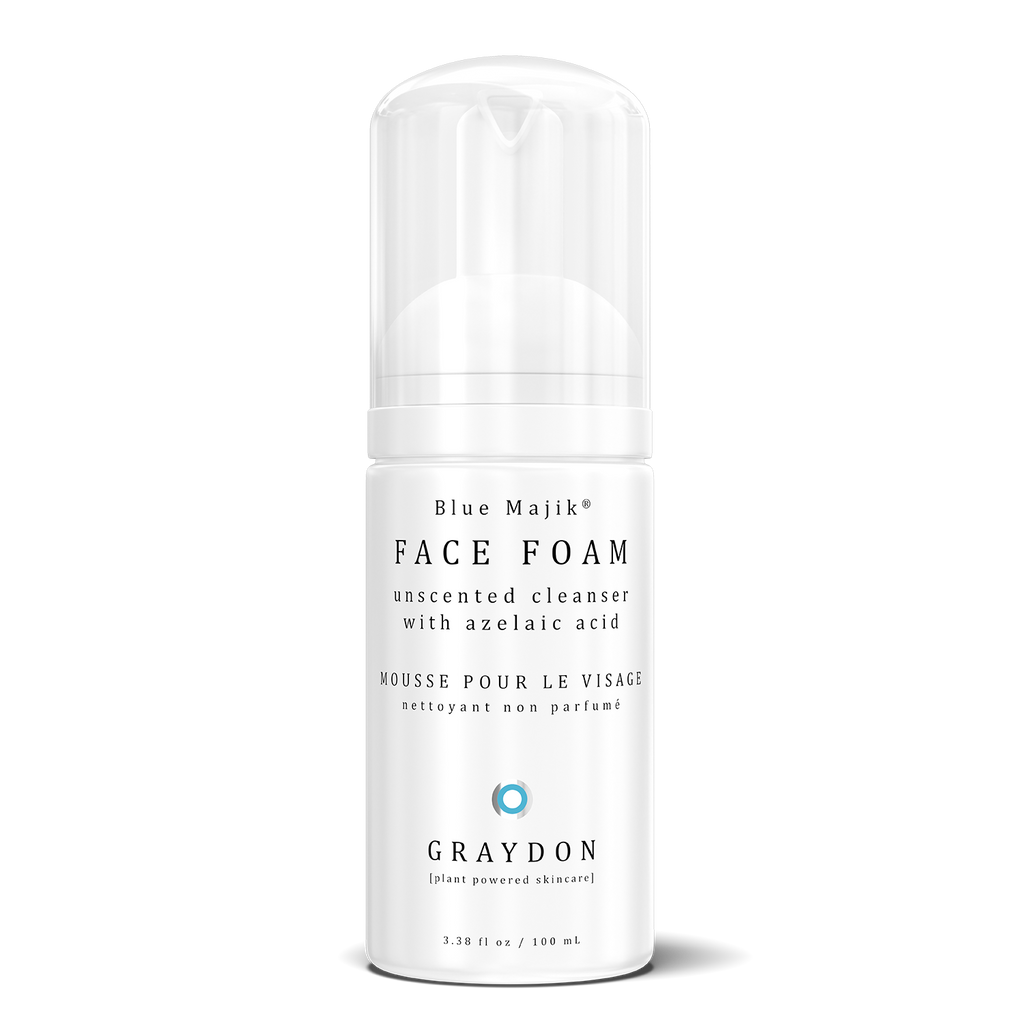 Face Foam cleanser infused with blue majik in white plastic bottle.