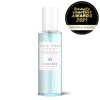 An aquamarine-coloured hydrating face mist with a Beauty Shortlist Awards stamp to its right